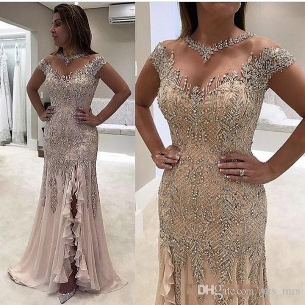 2020 Luxury Champagne Mermaid Prom Dresses Sheer Neck Beading Crystal Cap Sleeves Side Split Ruffle Chiffon Floor Length Party Evening Gowns