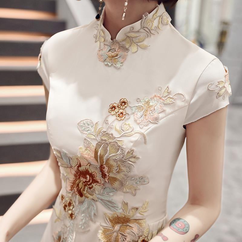 2020 중국어 드레스 웨딩 파티 치파오 동양 저녁 긴 드레스 중국 스타일 여성 우아한 Qipao 자수 로브 Vestido