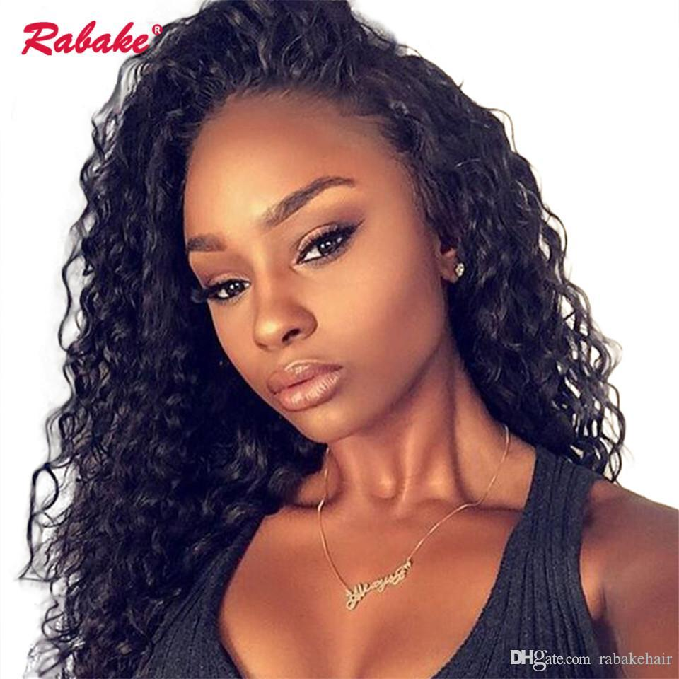 Curly 360 Full Lace Pelucas de cabello humano Rabake Brasileño Sin cola 360 Lace Front Wig Cap Afro Kinky Curly Frontal pelucas para mujeres negras