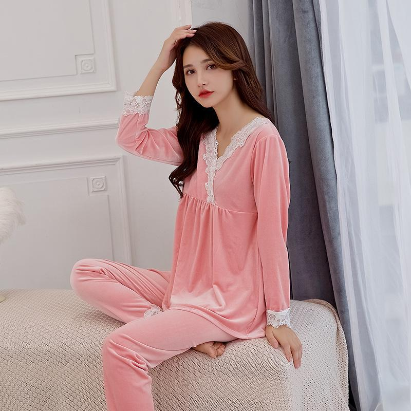 FZSLCYIYI Womens Pajamas Set Winter Thick Warm gold velour Pajama Sets Lace Trim Pyjamas Women Homewear Sleepwear