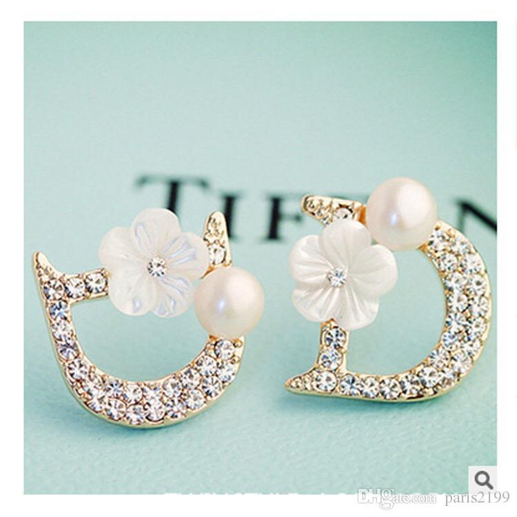 고품질의 여성 보석 작은 편지 D 디자이너 꽃 진주 925 개 실버 귀걸이 비쥬의 보석류 보석 선물