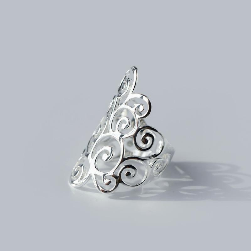 Retro argento 925 spirale filigrana Ricciolo polacco Finito il pollice Banda lungo anello gioielli regolabile Donne Uomini GTLJ843 Y200321