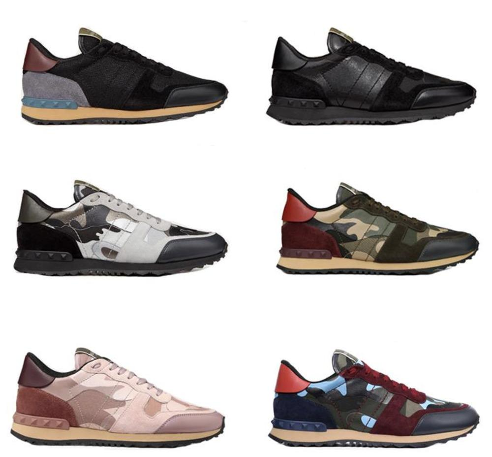 Moda rockrunner camuflagem tênis Enchido sapatos de grife formadores Homens Mulheres Flats malha sapatos de couro Combo Rocha corredor com caixa