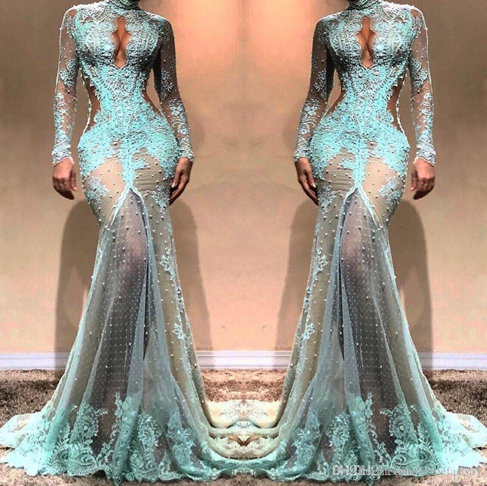 2019 High Neck Gorgeous Long Sleeves Mermaid Evening Dresses Illusion Lace Formal Prom Dresses Cutaway Side Celebrity Gowns BC0003