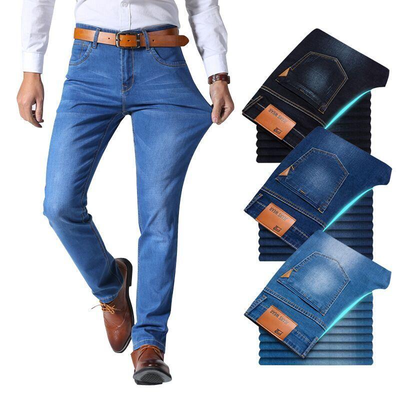Jeans stile classico da uomo nuovi Pantaloni casual in denim elasticizzato casual da uomo Pantaloni neri blu chiaro Marca maschile