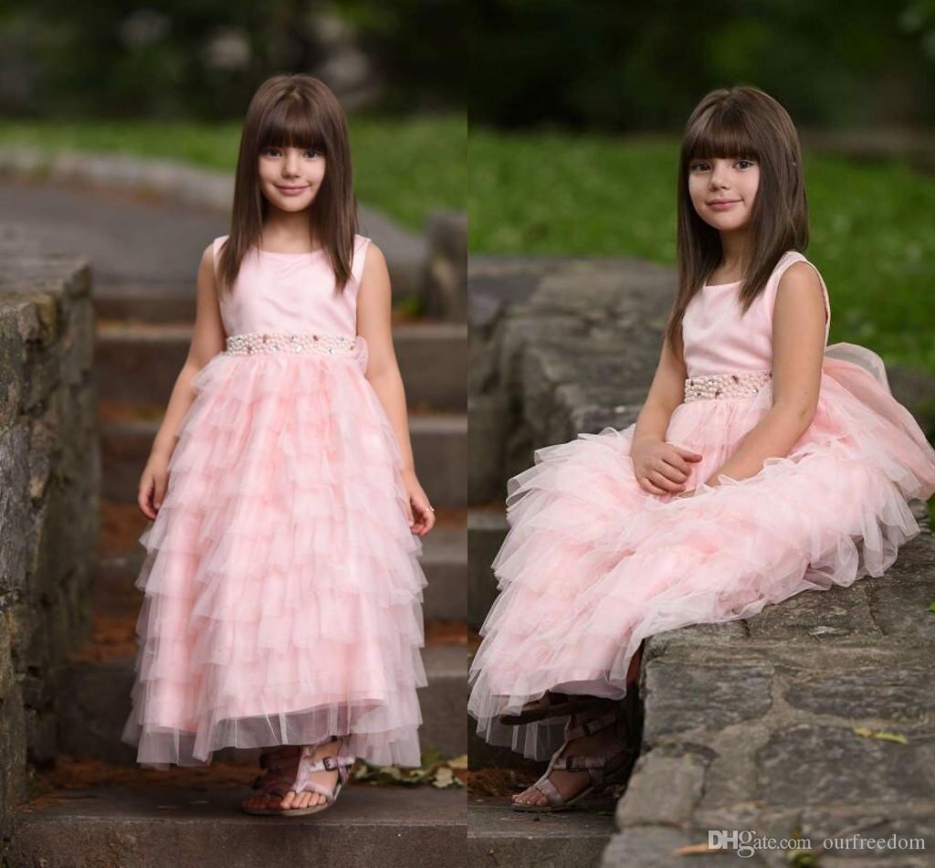 Rose 2019 Robes de demoiselle d'honneur formelles pour réceptions de mariage Tuffes de perles en tulle perle longueur au sol fille en dentelle robe de soirée