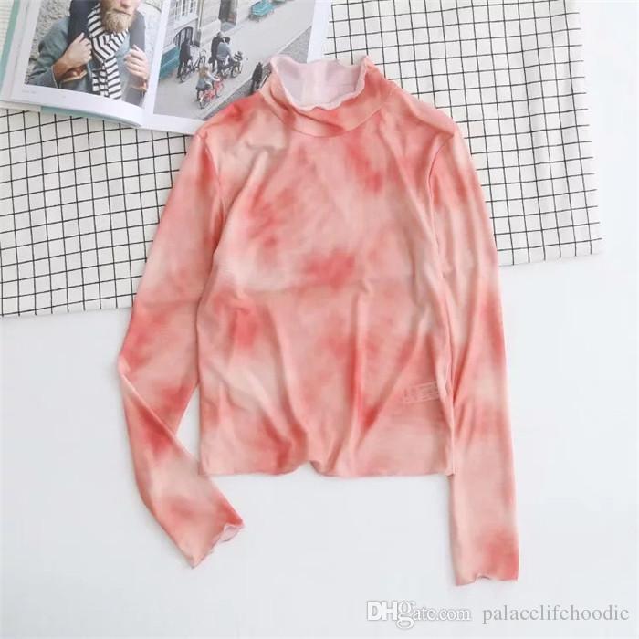 Estilo de la moda para mujer de la tinta del estilo del resorte de Desinger camisetas de cuello redondo de manga larga Mujer Ropa Nueva ocasional del verano prendas de vestir