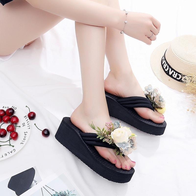 Bohemian Style Girl Wedge Platform Flip Flops Shoes Women Shoes Flowers Beach Sandals Lady Thick High Pantufas Holiday