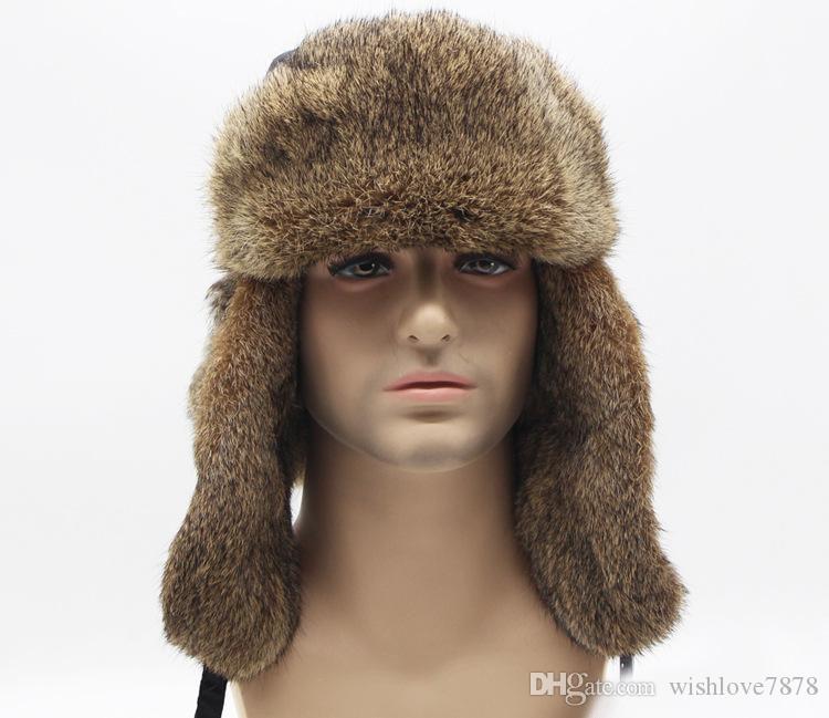 Kulak Kanatçıklan Olan Yüksek Kalite Erkek Kadın Tavşan Saç Kürk Kış Şapka Trapper Şapka Kar Rus Kalınlaşmak Şapka Bombacı Cap Caps Ilık