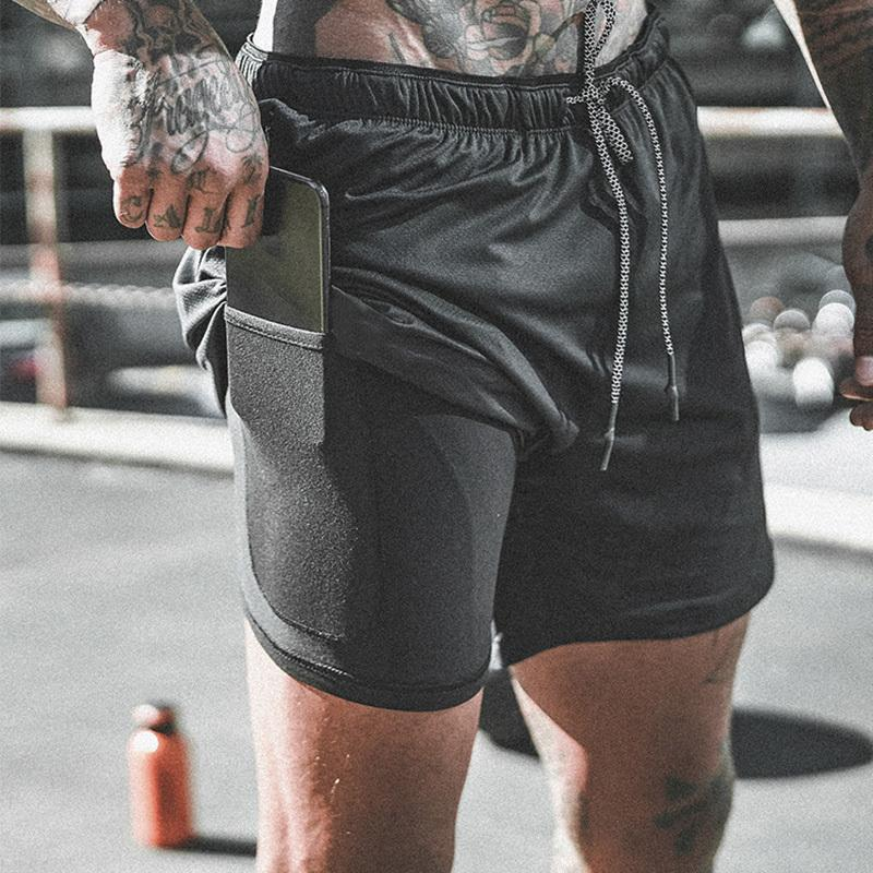 Men's 2 in 1 Compression Shorts Men Shorts Quick Dry Training Exercise Joggers Gym Shorts with Built-in pocket Liner Y200108