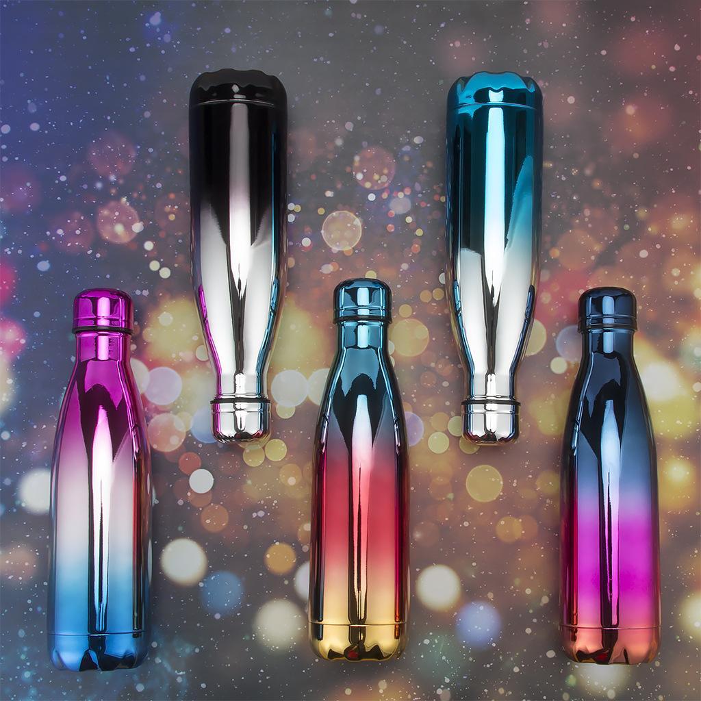 الأشعة فوق البنفسجية اللون 500ML كولا على شكل زجاجة معزول مزدوجة الجدار فراغ زجاجة الفولاذ المقاوم للصدأ المياه الرياضة زجاجة الترمس الكوك الكؤوس CCA11748-2 10PCS