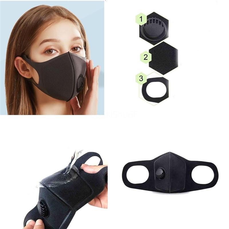 DHL libre envía! Nuevo Anti boca del polvo Negro cuidado de la cara er PM2.5 la máscara a prueba de polvo anti-L reutilizable lavable Esponja Máscaras Herramientas Rra1365 Q4K7