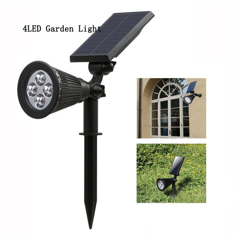 Holofotes Solar 2-em-1 Movido A Energia Solar 4 LED Ajustável Luz Da Parede Sola Paisagem Da Lâmpada Brilhante e Escuro Sensing Auto On / Off Segurança Noite Lam
