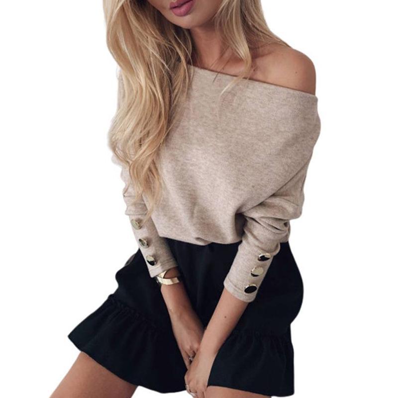 Donne sexy Slash collo Maglione fatto a maglia Autunno Inverno Lady spalle Button manica lunga pullover Femme Streetwear Tops
