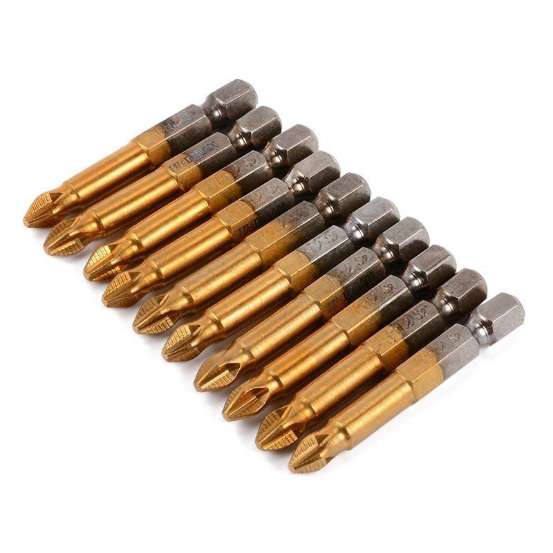 10pcs 50 millimetri PH2 1/4 pollice attacco esagonale magnetico Croce Cacciavite Bit di titanio rivestito Strumenti S2 Acciaio di potenza, grigio oro