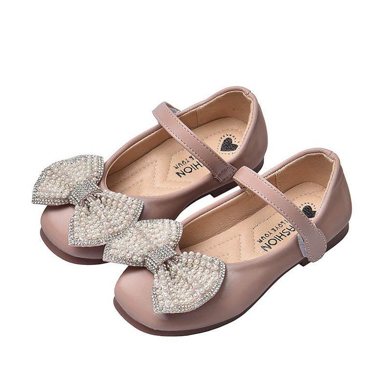 2020 yeni moda kızlar ayakkabı inci çocuk ayakkabı prenses kız ayakkabılar parti düğün çocuk ayakkabı satış B340 elbise fiyonklar