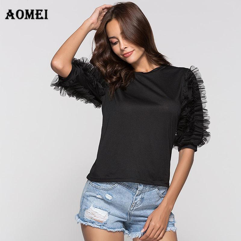 Verano de Las Mujeres Camiseta Remiendo de Malla de Tul Ruffles Elegante Chica Camiseta Negro Ropa de Moda Casual Desgaste Para Trabajar Tops Blusas Y19051301