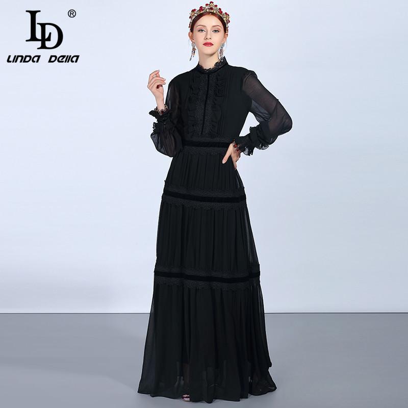 LD LINDA DELLA Fashion Runway Maxi Abiti da donna manica lunga in pizzo patchwork increspature abito vintage nero elegante abito da sera Y19042401
