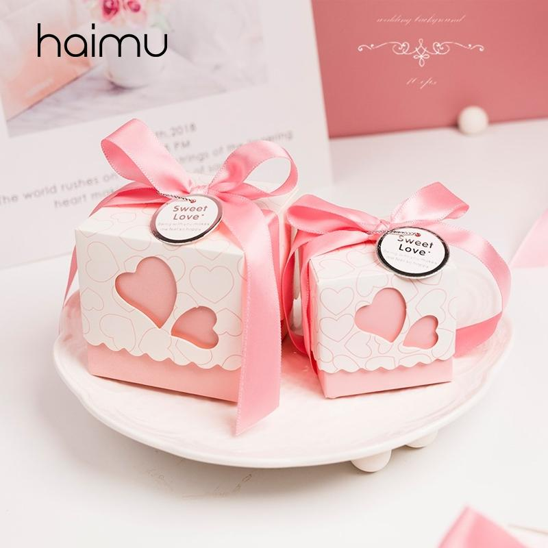 10pcs Wedding presenti confezione regalo Packaging Candy Box fai da te Wedding Favor regali del matrimonio cioccolato accessori per la decorazione con il nastro