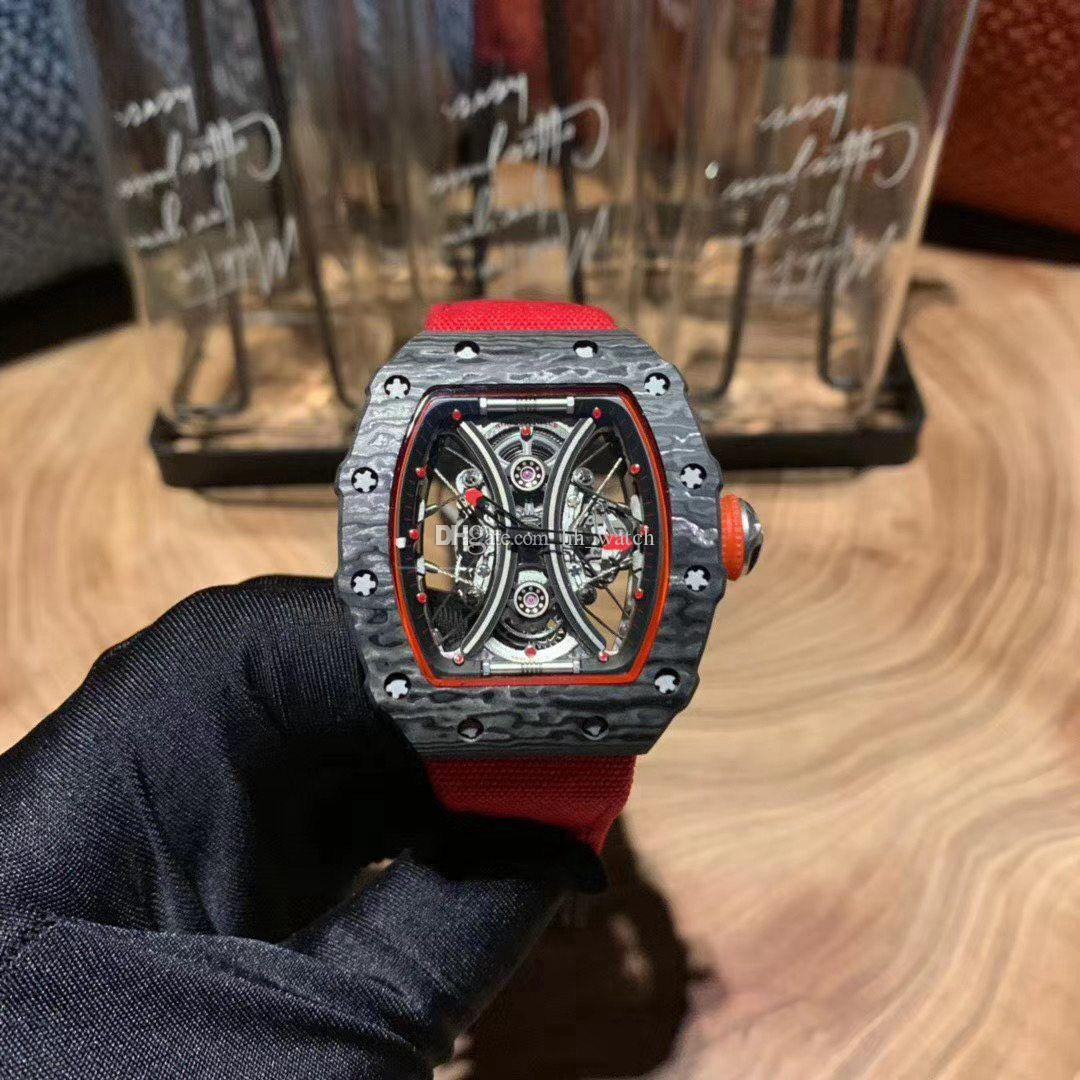 The latest 53-01 carbon fiber material case red canvas strap sapphire mirror automatic mechanical movement 40MM men's watch