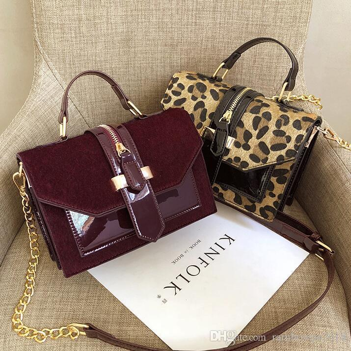 wholesale women handbag personalized patent color women chain bag street trend Leopard handbag Joker flip Leopard patent leather fashion bag