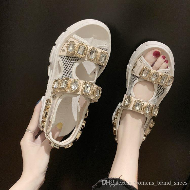 2019 brand New summer crystal diamond south Korean version of thick bottom sandals mesh yarn color matching open toe women's casual shoes