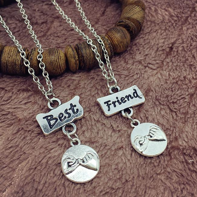 Little Finger Promise Necklace Flatten Best Friends Tag Hand in Hand Friendship Choker Couple Necklaces Pendant Women Jewelry Bff Gift