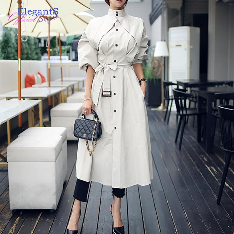 Mulheres Trench Brasão Moda Confortável solta uma linha Professional Temperamento Outwear Aqueça Longo Trench roupas tamanho 2020 New