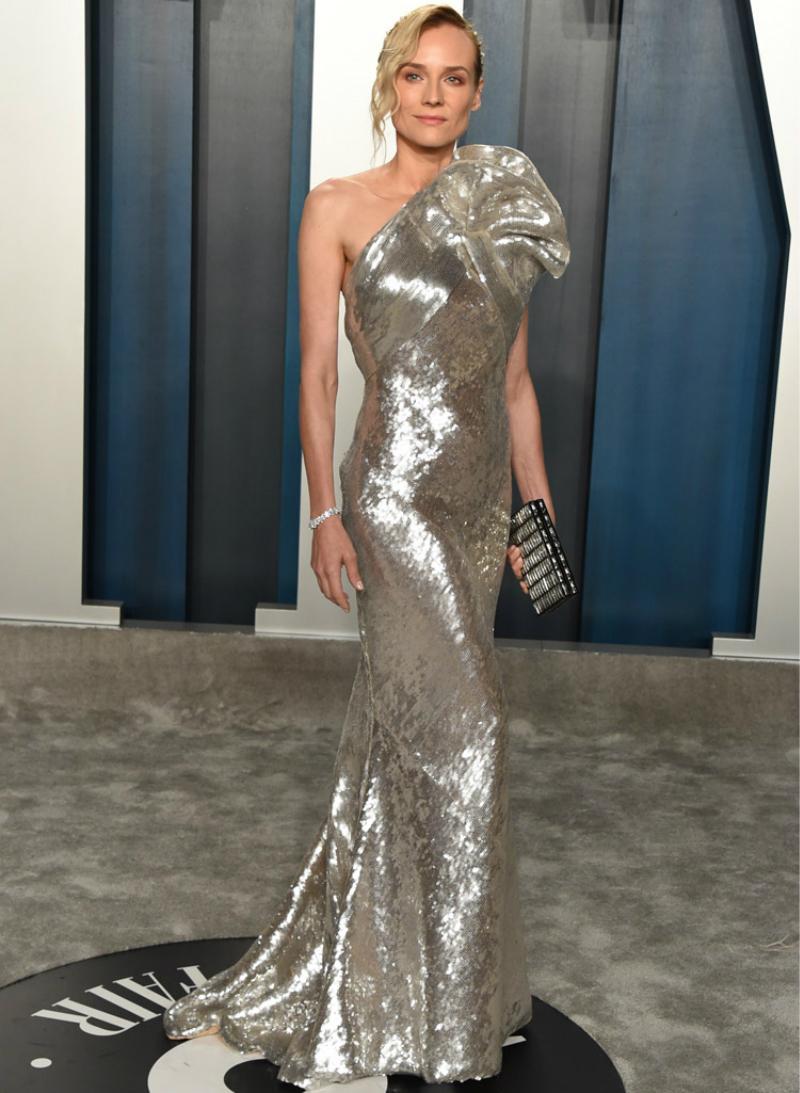 Elie Saab Abendkleider Sparkly Silber Ein Schulter-Nixe Abendkleid bodenlangen roten Teppich Runway Fashion Club Wear