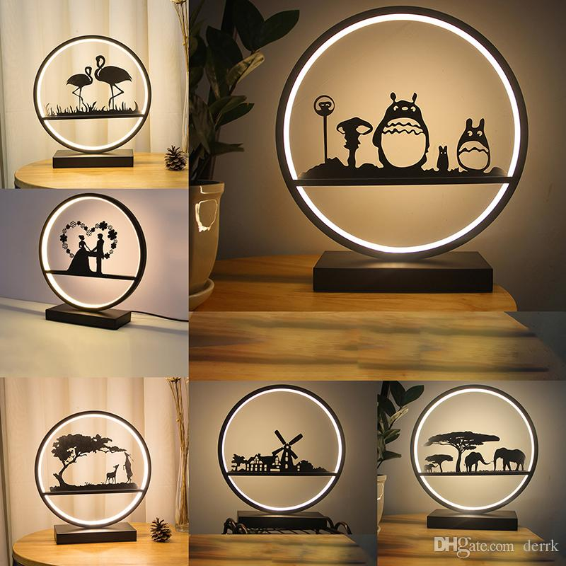 Nordic Bedroom Bedside Lamp for Table Luminaire Resin Flamingo totoro elephant windmill LED Table Wedding Lights Decorative Pink Desk Lamp
