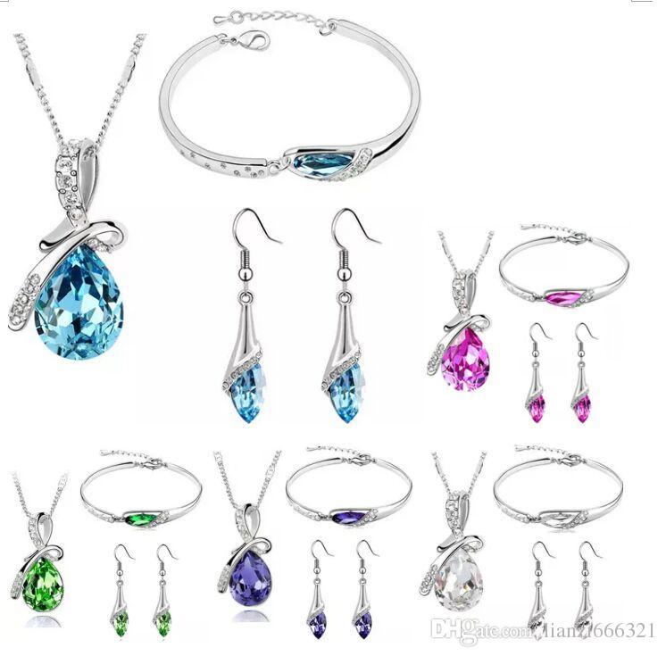 Nouvelle arrivée pour le nouvel an en Autriche collier en cristal de Zircon / boucles d'oreilles / bracelet ensembles de bijoux diamant chaussure ensembles de bijoux Livraison gratuite HJ234