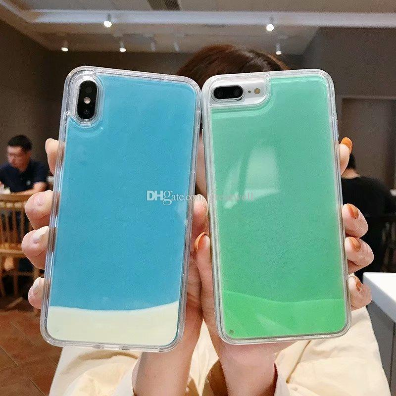 Fashion Transparent Luminous Liquid Case For Iphone 11 Pro Max XS Max XR 8 7 6S Plus TPU edge Hard PC back Quicksand Glow In the Dark