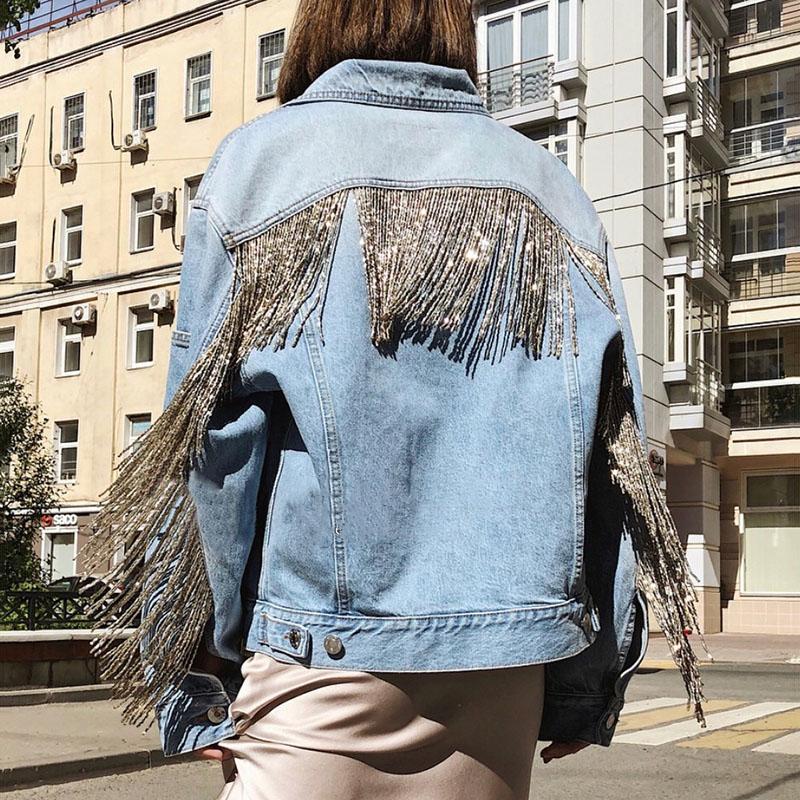 [EWQ] 2020 Autumn European Style Plus Size Tassel Coat Women Long-sleeved Beaded Chain Fringed Holes Fashion Ladies Denim Jacket