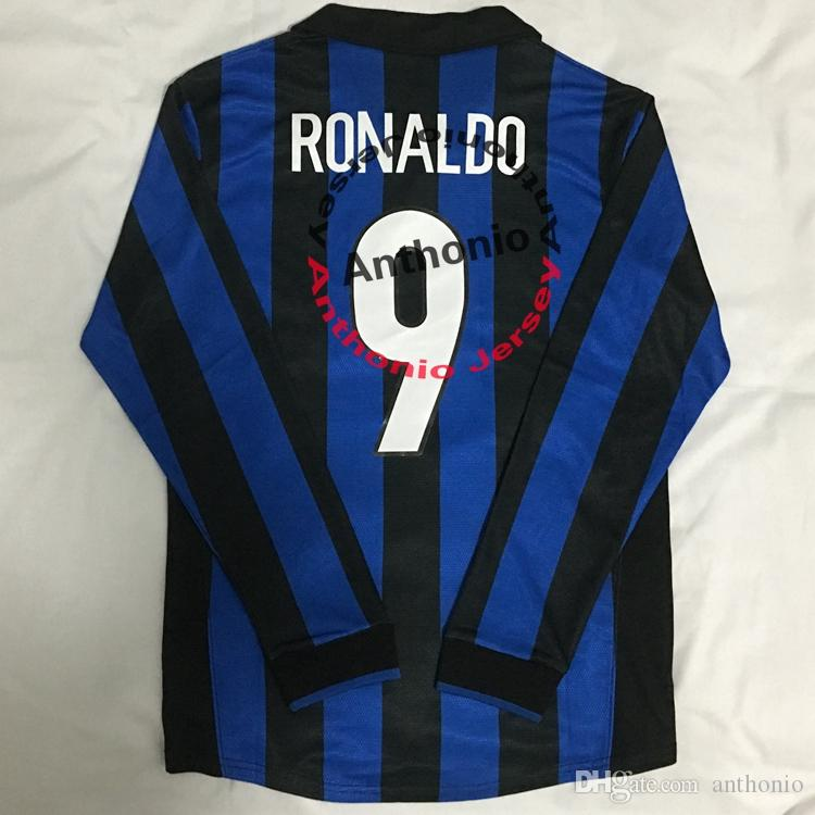 С длинным рукавом 1998/99 ретро винтаж классический RONALDO 9 BAGGIO 10 J ZANETTI Майо де фут футбол майки Таиланд качество футбол рубашки комплект