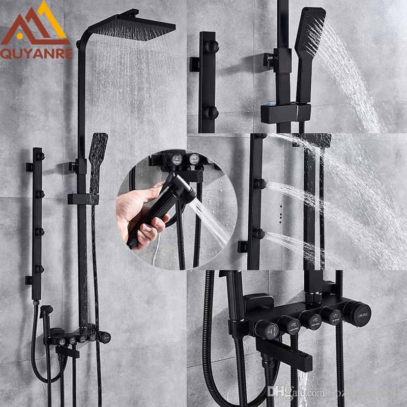 Matte Black Chrome Shower Faucets Set Brass 5-way Button Control Mixer Tap SPA Massage Jets Shower Bidet Bath Shower Set