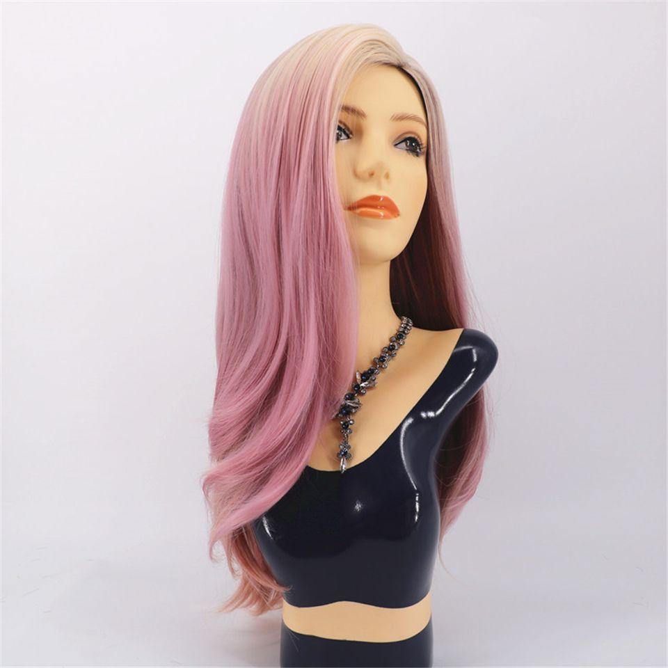 Ensemble de perruque de cheveux bouclés rose clair avec des teintes de mode pour femmes