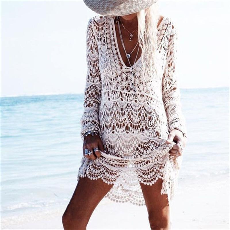 Crochet Summer Beach Dress Cover Up Sexy Hollow Out Mesh Knitted Tunic Swimsuit Coverup Womens Beach Sarong Robe De Plage A33 Y19071801