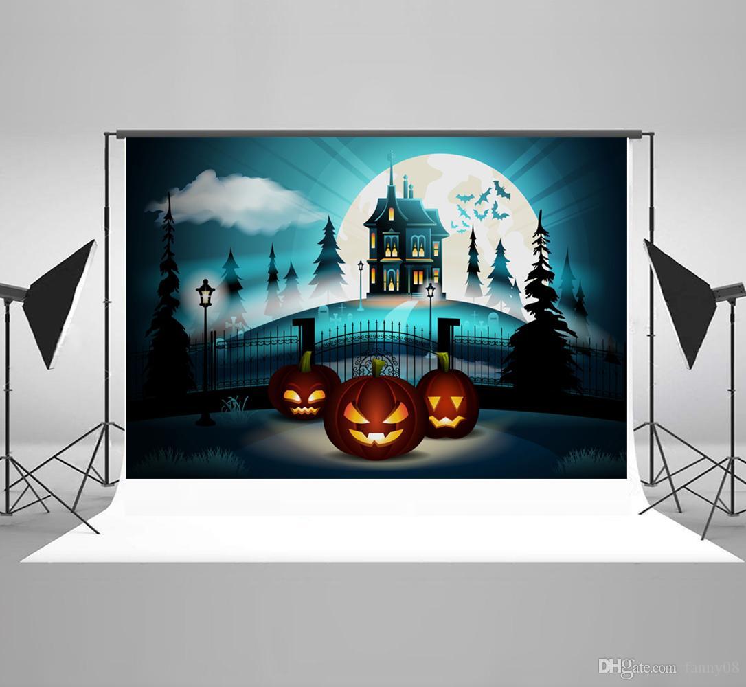 Kate Toile de Fond Halloween Fond Photo f/ête dhalloween Cimeti/ère Citrouille Lanterne Props Cabine Fond pour Studio Photo Enfants Halloween Decoration 7x5ft 2.2x1.5m