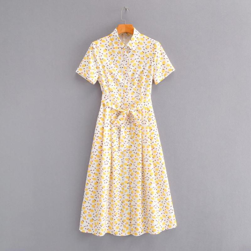 2020 women fashion yellow fruit print shirtdress French country style bow sashes vestido short sleeve casual slim dresses DS3602