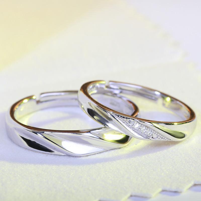 Mode Argent 925 Dazzling Mosaïque CZ Zircon Couple doigt Bagues de femmes Hommes Déclaration de mariage amant Bijoux Bijoux