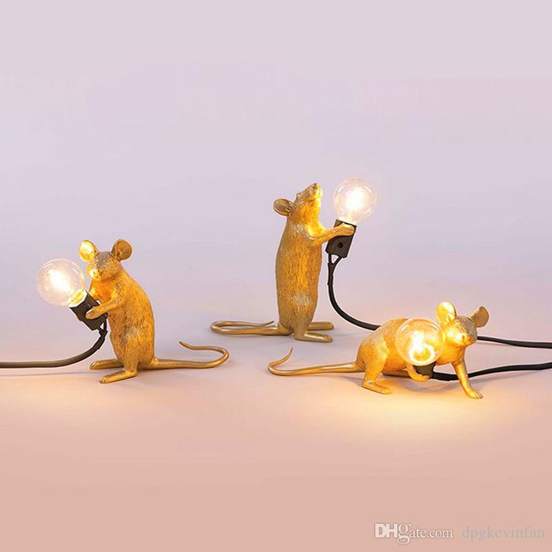 Retro Design White Gold Rat Bedside Table Lamp for Bedroom Living Room Personal Office Coffee Desk Home Interior Art Decor Lamp
