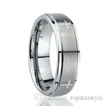 Crosses laser engraving Step Edges and brush surface Tungsten Ring wholesales 8mm for men