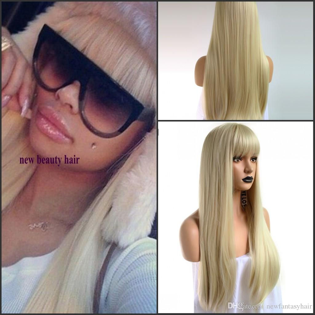 Hot Sexy Blonde Color Long Silky Straight Cosplay Lace Front Wig With Bangs Heat Resistant Natural Soft Synthetic Wigs for Black Women