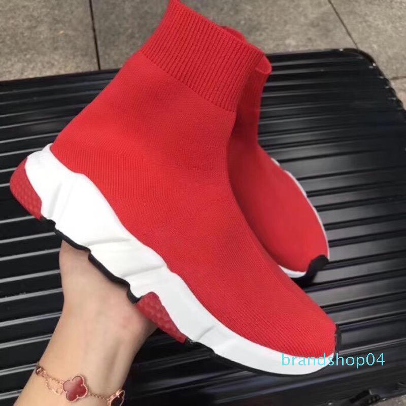 Горячая распродажа-дизайнерская обувь скорость носок кроссовки стрейч сетки высокие сапоги для мужчин женские черный белый красный блеск Бегун плоские кроссовки US5-12