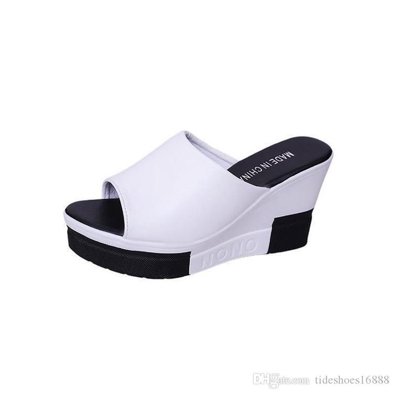 2019 Verano Sloped Thick-Bottom Fish Toe Mujer Zapatillas Elegantes 9 CM Sandalias de tacón alto Plataforma de cuña Zapatillas de mujer Zapatos cómodos al aire libre