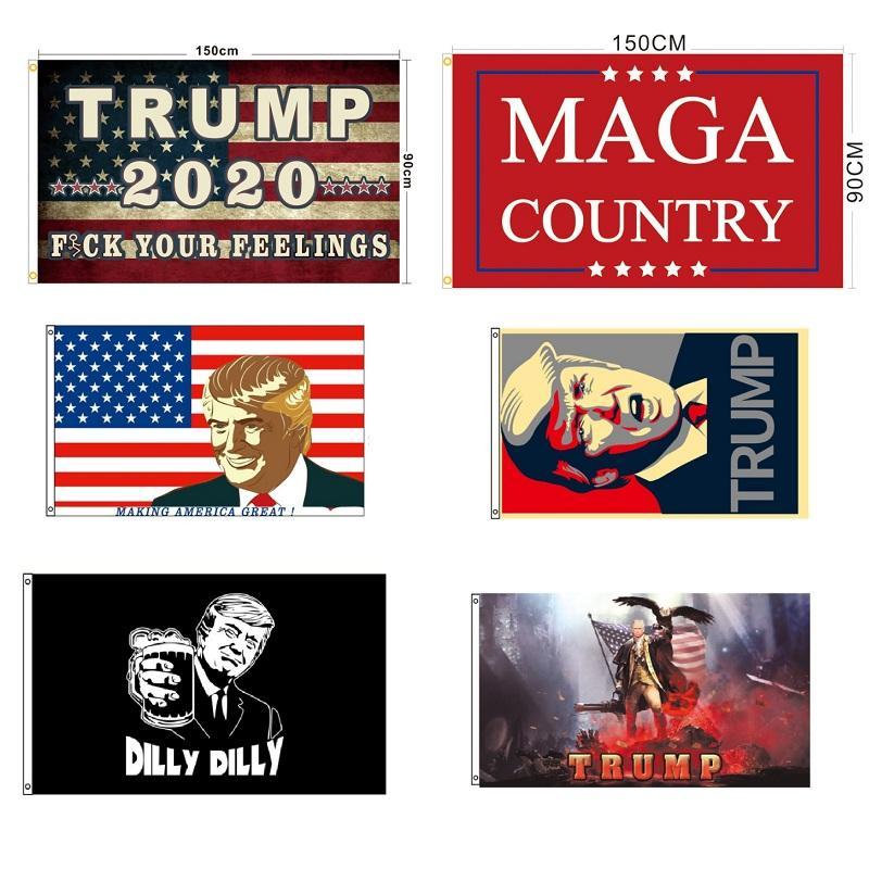 Alta Qualidade 3x5ft 19 cores Novo Design Donald Trump 2020 Eleição Re bandeira da bandeira de América EUA Presidente Eleito publicidade Flags 5x3 pés