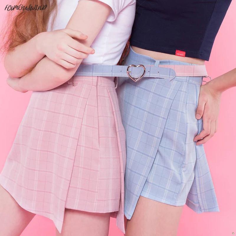 New Pink Vita alta Moda Sweet Sashes Pantaloncini da donna Gonna Slim Shorts Gonne scozzesi Casual Cerniera Plaid Estate Blu Stile preppy
