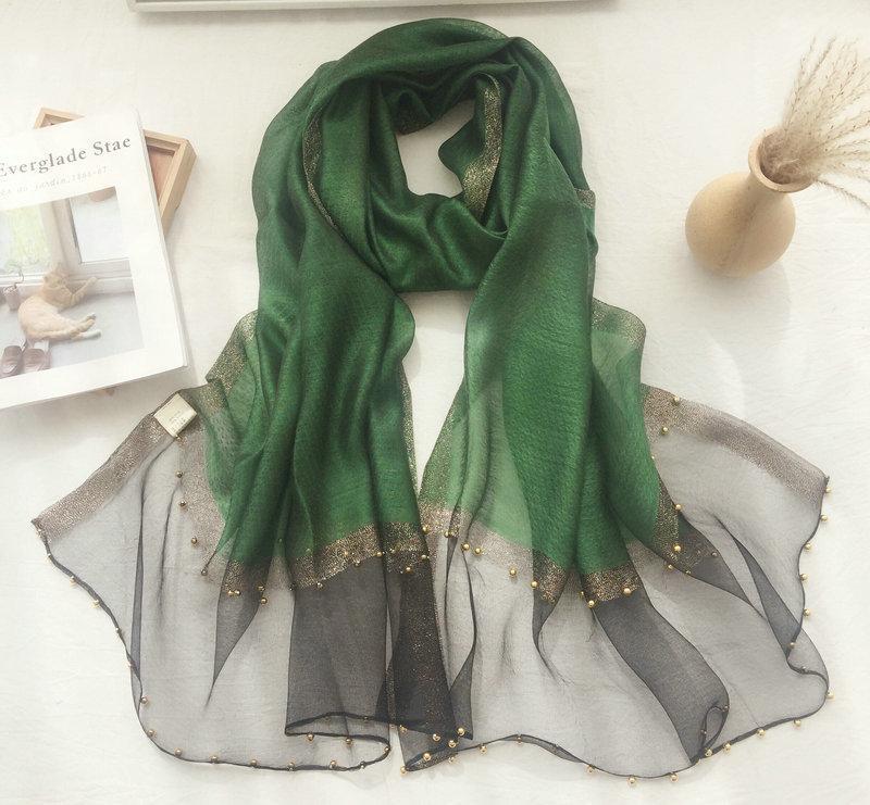 Дизайнер шарф шелковый шарф шерсти шипованных Pearl Алмазный Алмазный Шелковый Яркий край защиты от солнца шали женщин