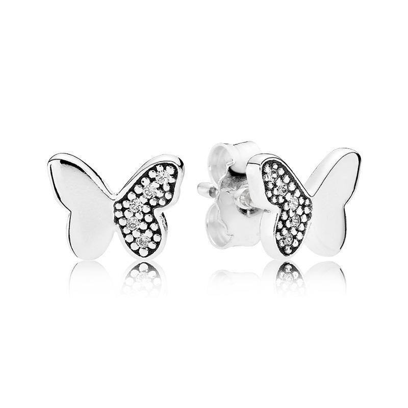 Nueva auténtico real 925 de la mariposa de plata Pendientes de Pandora 290693CZ bricolaje Jewelrynew