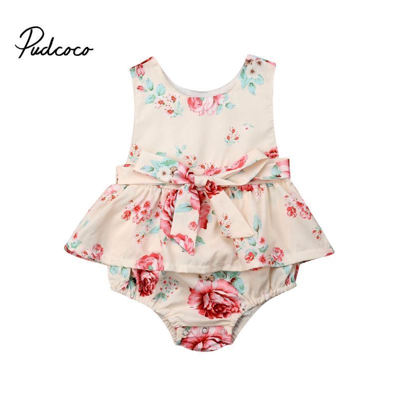 Pudcoco Bebé recém-nascido bodysuit mangas Ruffle roupas de algodão orgânico do bebê Outfits sunsuit arco da flor do verão 0-24M sunsuit